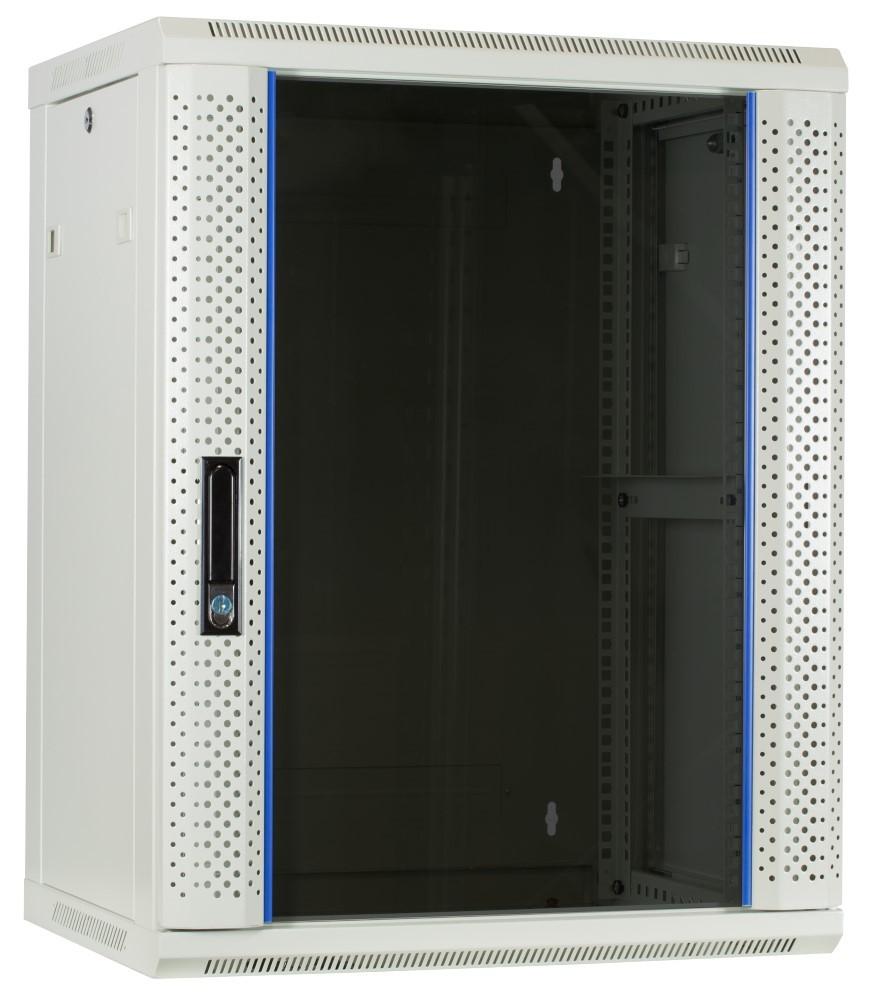 Afbeelding van 15 HE Serverschrank, Wandgehäuse, mit Glastür, Weiß, (BxTxH) 600 x 450 x 820mm
