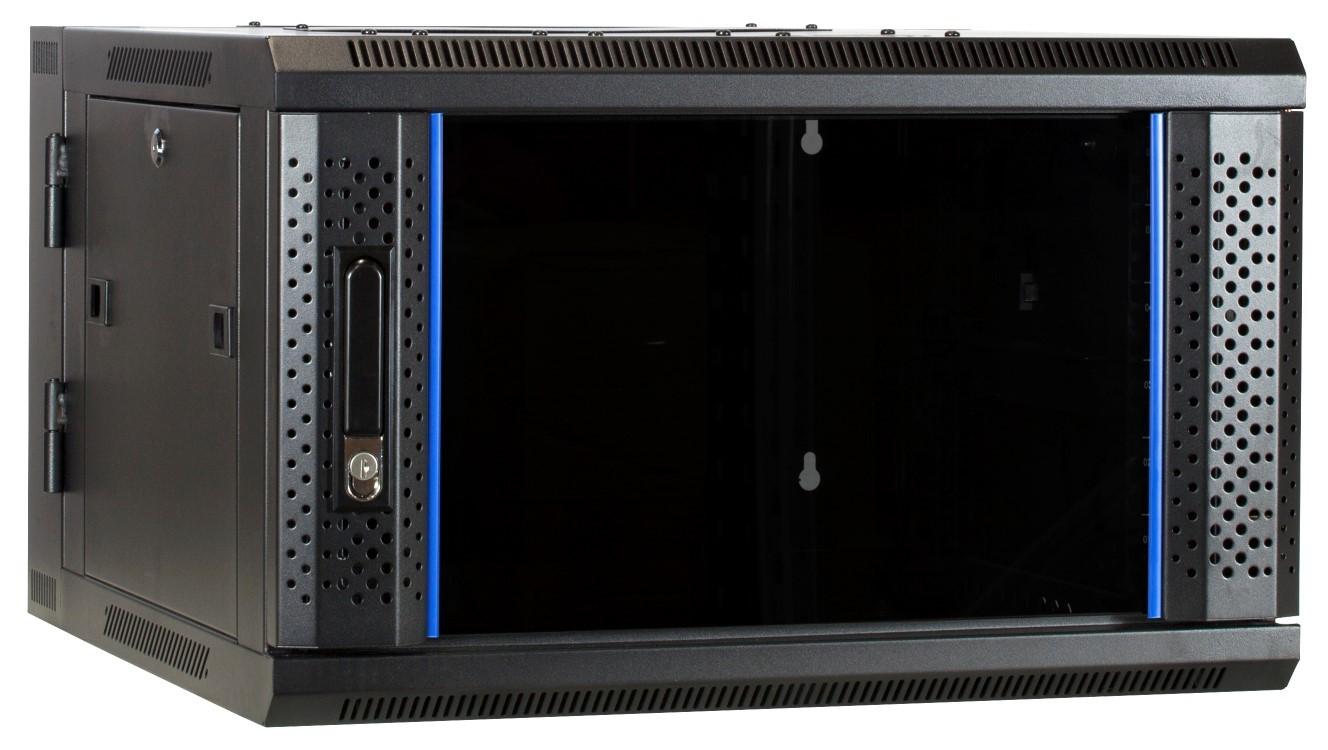 Afbeelding van 6 HE Serverschrank, wendbares Wandgehäuse mit Glastür (BxTxH) 600 x 600 x 368mm