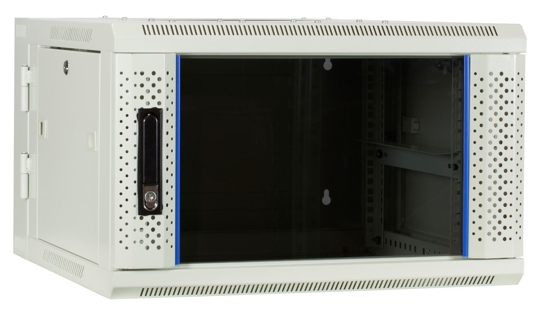 Afbeelding van 6 HE Serverschrank, wendbares Wandgehäuse mit Glastür, Weiß (BxTxH) 600 x 600 x 368mm