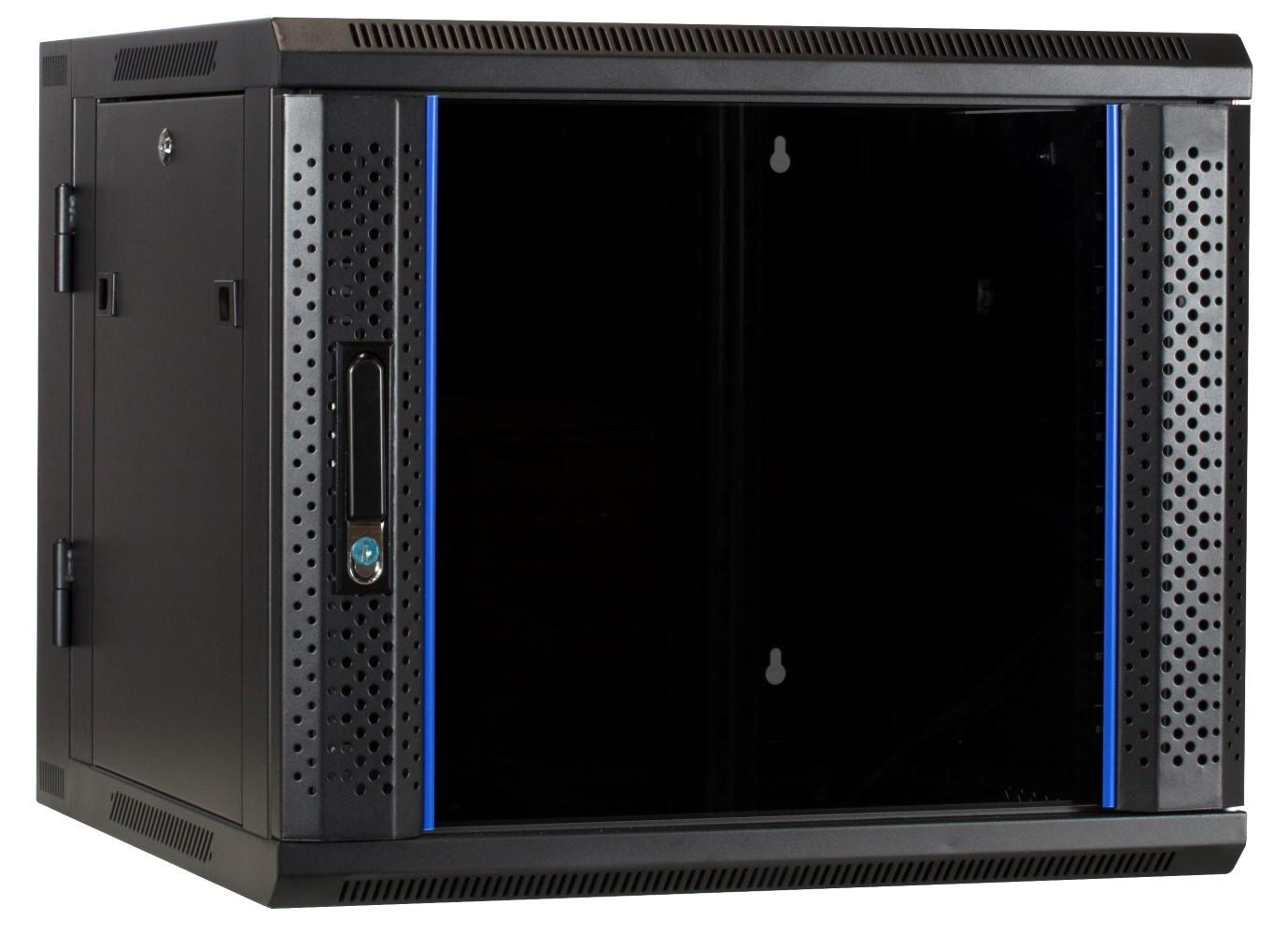 Afbeelding van 9 HE Serverschrank, wendbares Wandgehäuse mit Glastür (BxTxH) 600 x 600 x 501mm