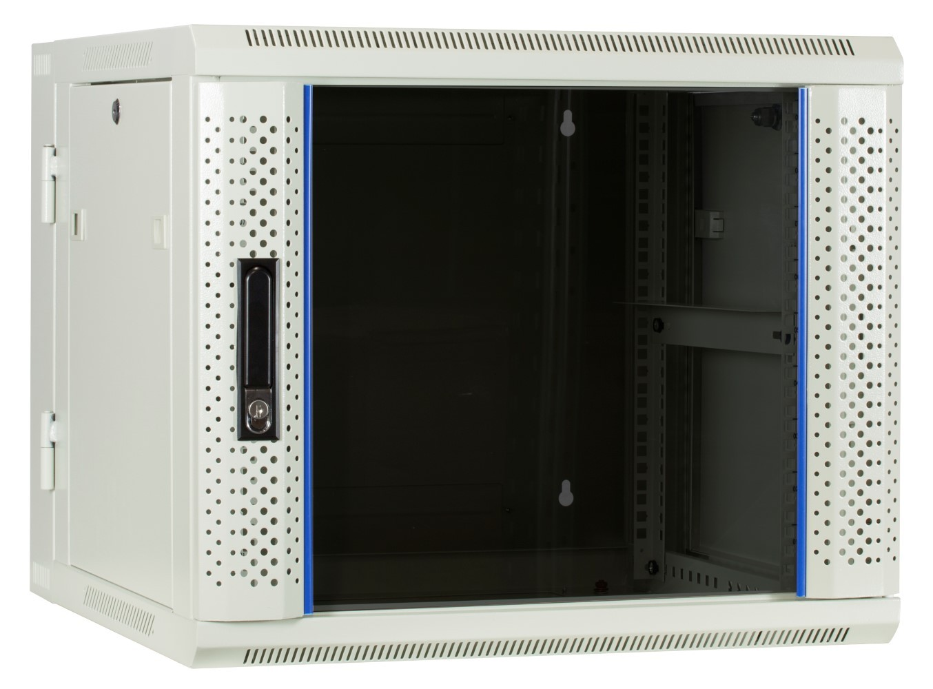 Afbeelding van 9 HE Serverschrank, wendbares Wandgehäuse mit Glastür, Weiß (BxTxH) 600 x 600 x 501mm