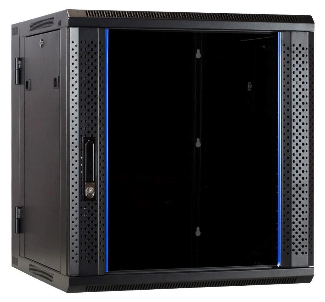 Afbeelding van 12 HE Serverschrank, wendbares Wandgehäuse mit Glastür (BxTxH) 600 x 600 x 635mm