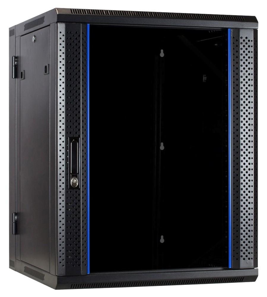 Afbeelding van 15 HE Serverschrank, wendbares Wandgehäuse mit Glastür (BxTxH) 600 x 600 x 769mm