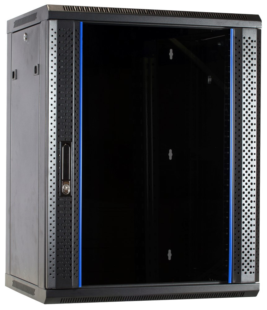 Afbeelding van 15 HE Serverschrank, Wandgehäuse mit Glastür, nicht vormontiert (BxTxH) 600 x 600 x 769mm