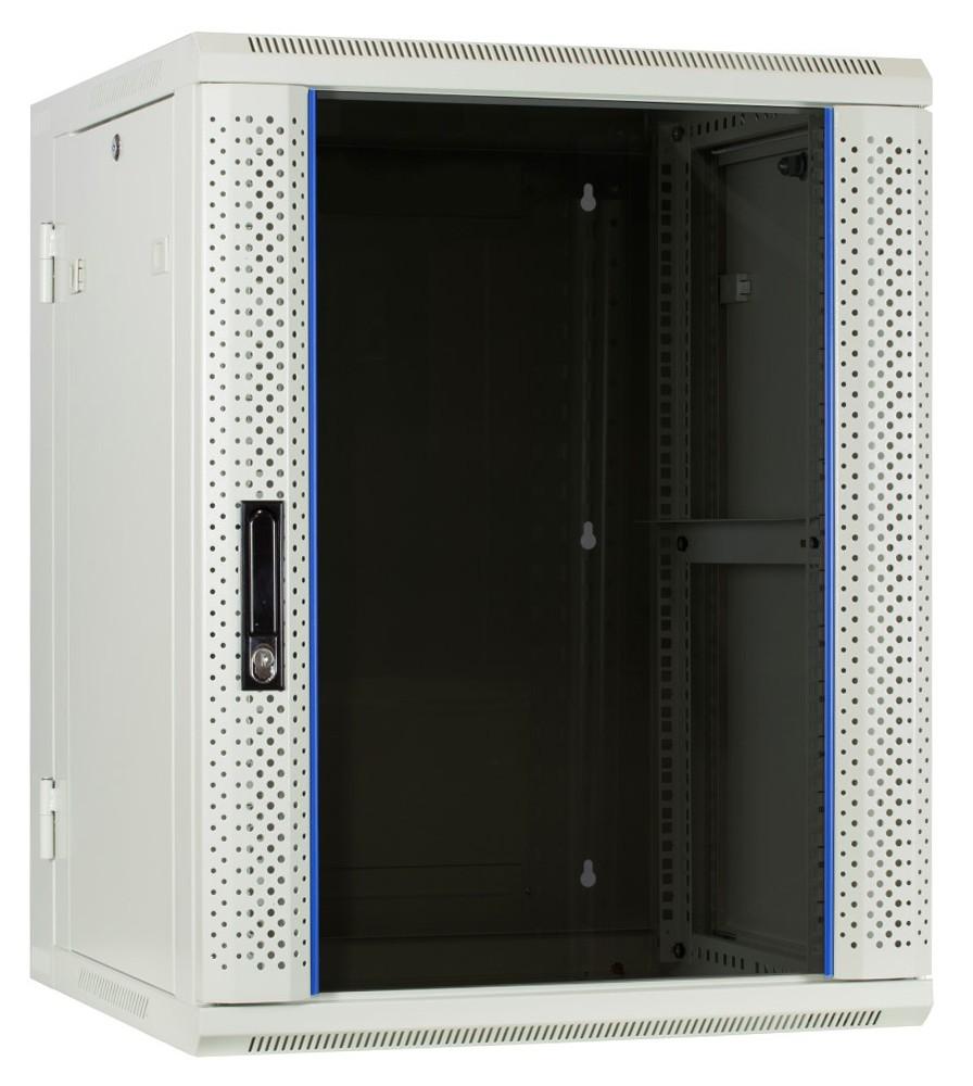 Afbeelding van 15 HE Serverschrank, wendbares Wandgehäuse mit Glastür, Weiß (BxTxH) 600 x 600 x 769mm