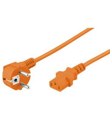 Netzkabel mit Schukostecker – C13-Kupplung – Orange – 2 Meter