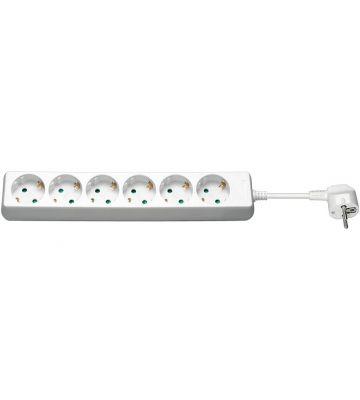 Steckdosenleiste - 6x Schutzkontakt - Weiß - 3 Meter