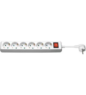 Steckdosenleiste mit Schalter - 6x Schutzkontakt - Weiß - 1,5 Meter