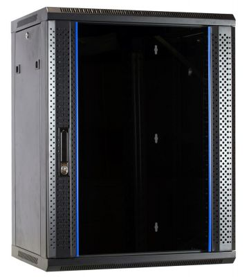 15 HE Serverschrank, Wandgehäuse, mit Glastür (BxTxH) 600 x 450 x 770mm