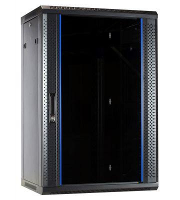 18 HE Serverschrank, Wandgehäuse, mit Glastür (BxTxH) 600 x 450 x 900 mm