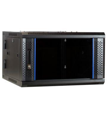 6 HE Serverschrank, wendbares Wandgehäuse mit Glastür (BxTxH) 600 x 600 x 368mm