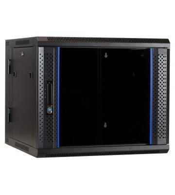 9 HE Serverschrank, wendbares Wandgehäuse mit Glastür (BxTxH) 600 x 600 x 501mm