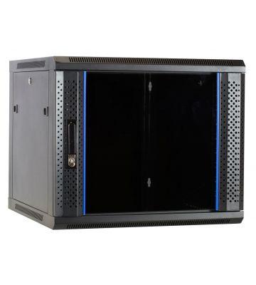 """9 HE Serverschrank, 19"""" Wandgehäuse mit Glastür (BxTxH) 600 x 600 x 501mm"""