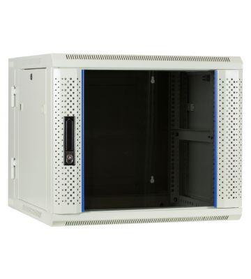 9 HE Serverschrank, wendbares Wandgehäuse mit Glastür, Weiß (BxTxH) 600 x 600 x 501mm