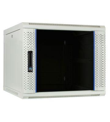 9 HE Serverschrank, Wandgehäuse mit Glastür (BxTxH) 600 x 600 x 500mm