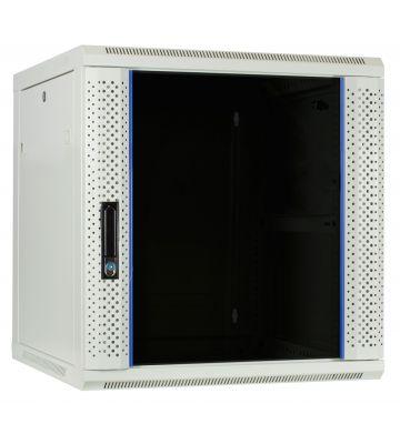 12 HE Serverschrank, Wandgehäuse mit Glastür, Weiß (BxTxH) 600 x 600 x 635mm