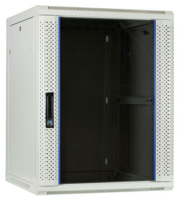15 HE Serverschrank, Wandgehäuse mit Glastür Weiß (BxTxH) 600 x 600 x 770mm