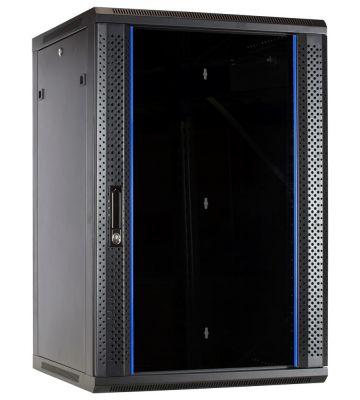 18 HE Serverschrank, Wandgehäuse mit Glastür (BxTxH) 600 x 600 x 900mm