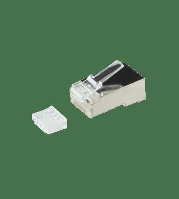 RJ45 CAT 6 Netzwerkstecker + Hilfsstück – geschirmt - für flexible Kabel