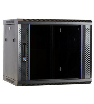 9 HE Serverschrank, Wandgehäuse, mit Glastür (BxTxH) 600 x 450 x 500mm