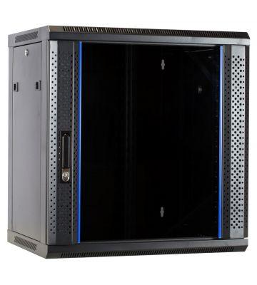 12 HE Serverschrank, Wandgehäuse, mit Glastür (BxTxH) 600 x 450 x 634mm