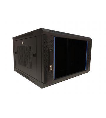 """6 HE Serverschrank, 19"""" Wandgehäuse mit Glastür und Perforierte Seitenwände (BxTxH) 600 x 600 x 368mm"""