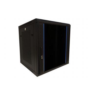 """12 HE Serverschrank, 19"""" Wandgehäuse mit Glastür und Perforierte Seitenwände (BxTxH) 600 x 600 x 635mm"""