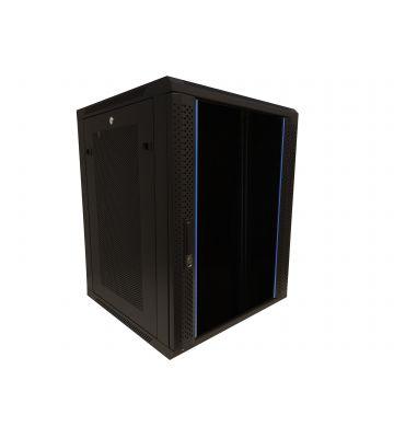 """15 HE Serverschrank, 19"""" Wandgehäuse mit Glastür und Perforierte Seitenwände (BxTxH) 600 x 600 x 770mm"""