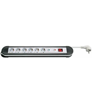 Steckdosenleiste mit Überspannungsschutz - 6x Schutzkontakt - Weiß - 1,5 Meter