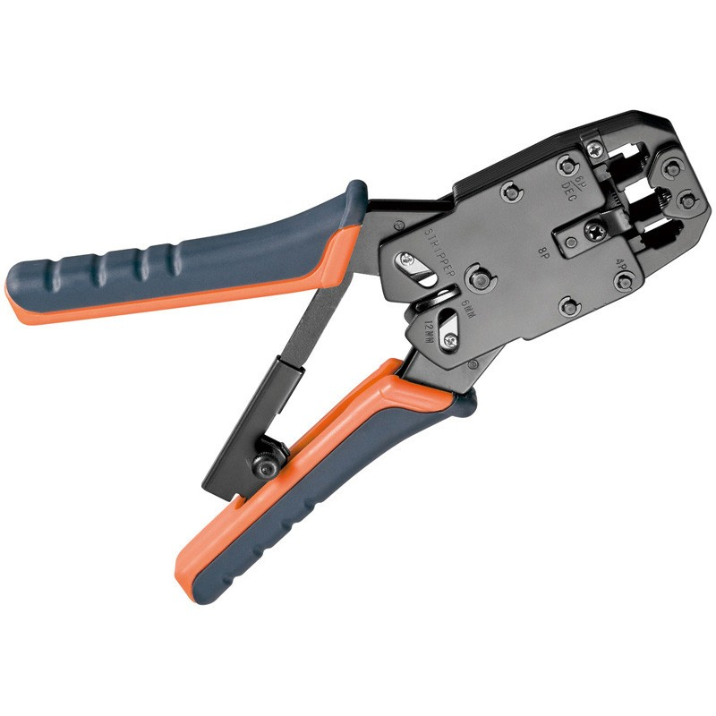 Afbeelding van Professionale Crimp Zange für RJ 45 Stecker mit Kabelschneider und Abisolierer